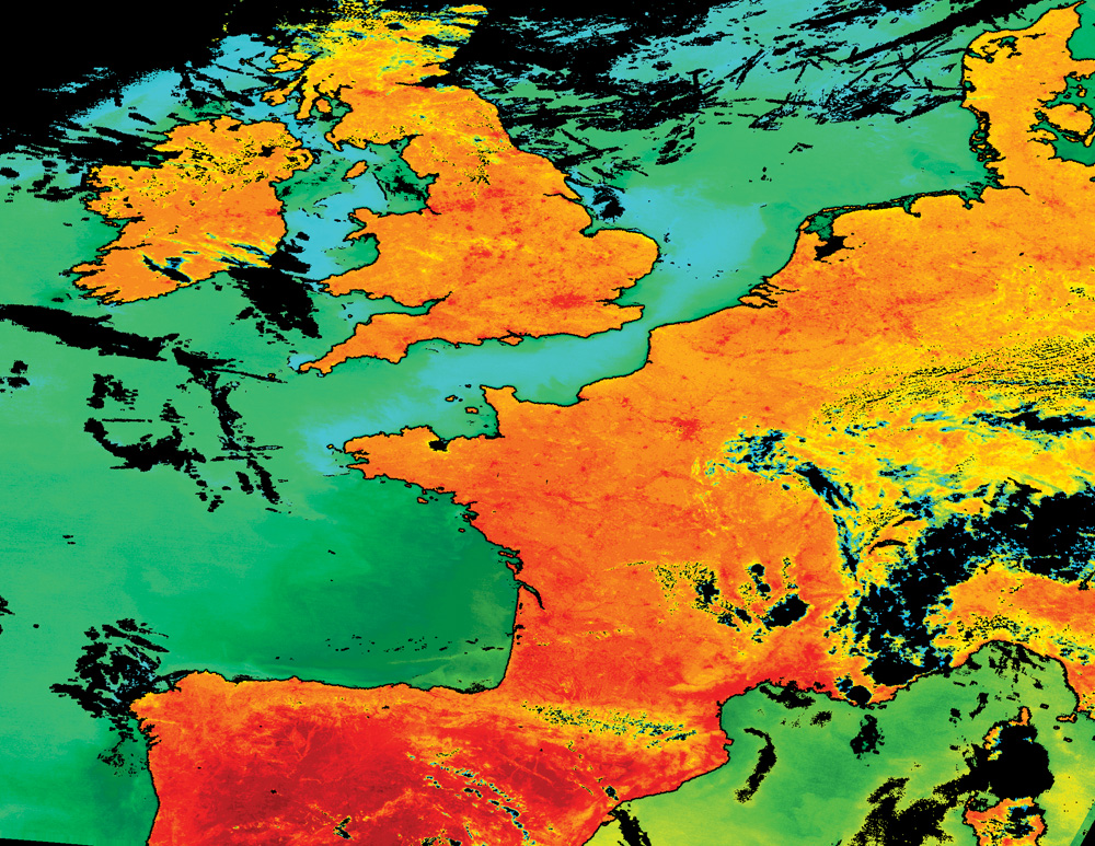 Terra MODIS陸面水温(LST)と海面水温(SST)プロダクトの地図投影と合成