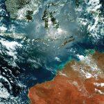 0.64µm、0.51µm、0.47µmのバンドから生成されたインドネシアとオーストラリアのTrue color画像