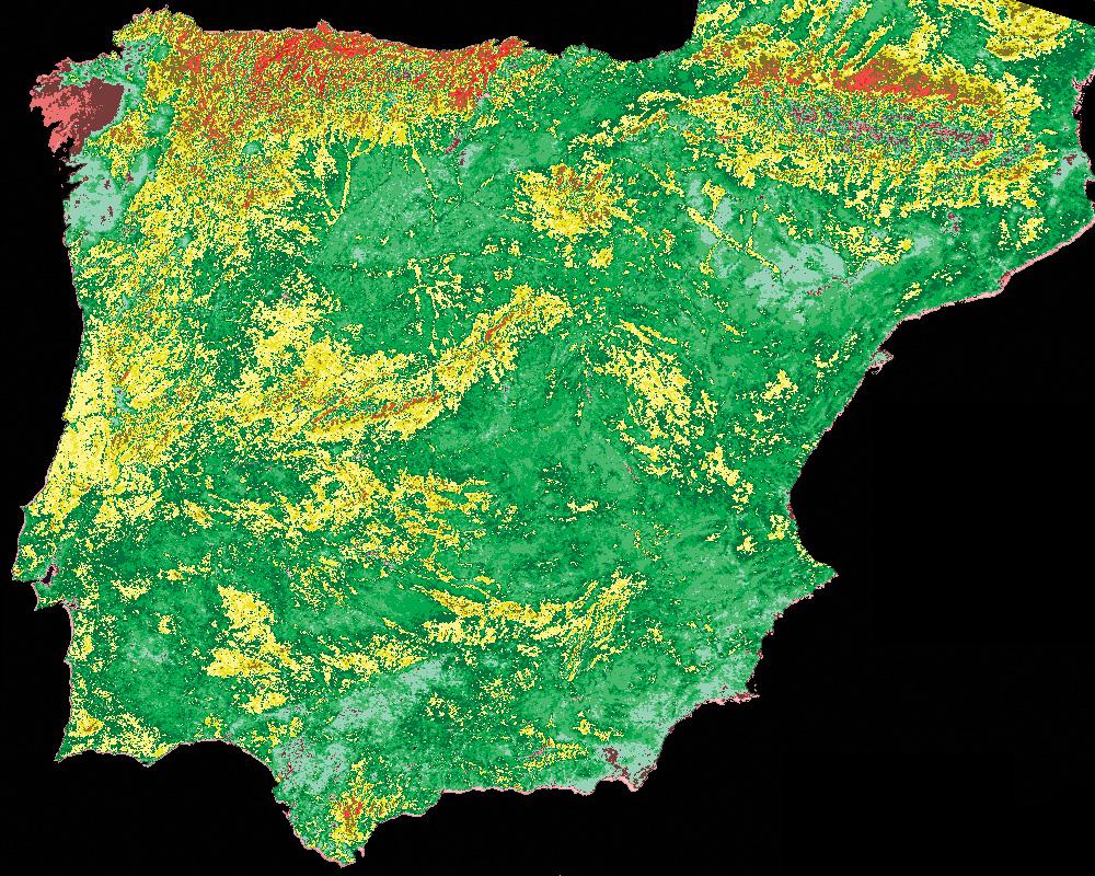 Dartcom iDAPソフトウェアの投影変換、数式パレット、DEMマスキング機能を使用して、スペインとポルトガルのNOAA AVHRR画像から作成された植生指数(NDVI)画像。