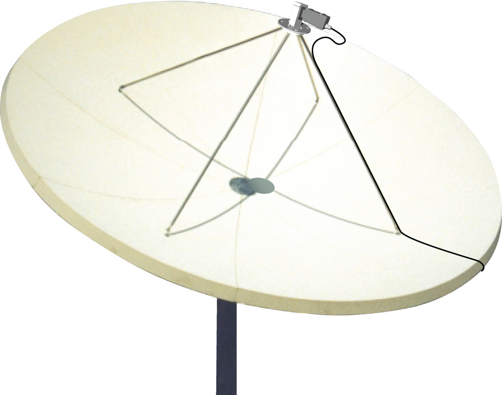 放物面反射鏡、スカラーフィードホーン、X-Band LNB
