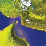 ペルシャ湾を示すNOAA HRPT擬似カラー画像(チャンネル1、2、4)