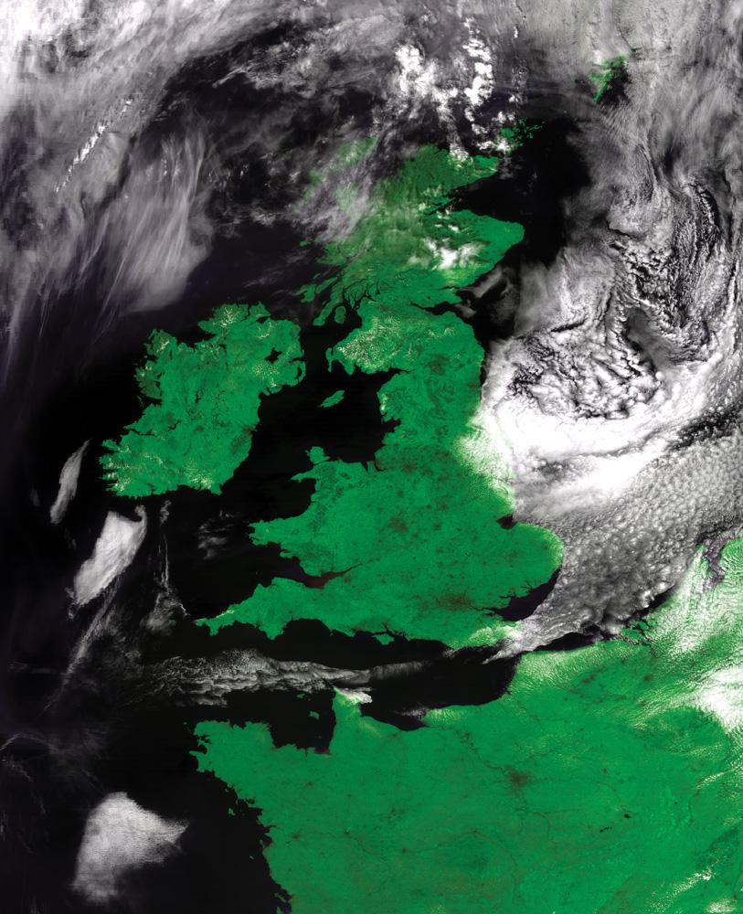 FengYun-3B MERSI 250mの解像度でイギリス、アイルランド、北欧を示すフォールスカラー合成画像